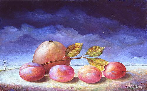 Pruimen en appel in een landschap