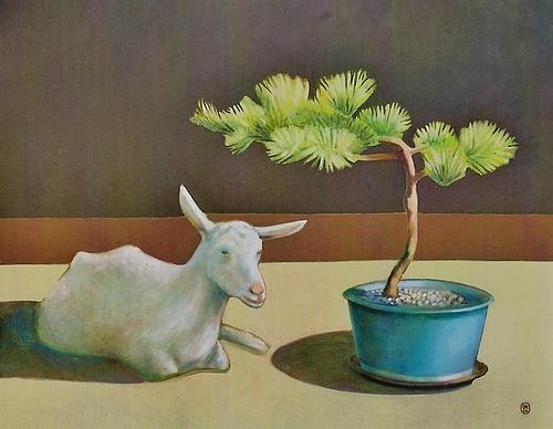 Een geit met bonsai