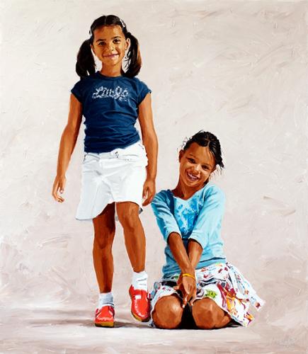 Kinderportret ten voeten uit van Emma en Laura