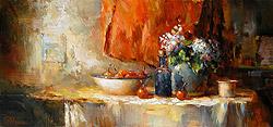 Stilleven met hortensia en appeltjes